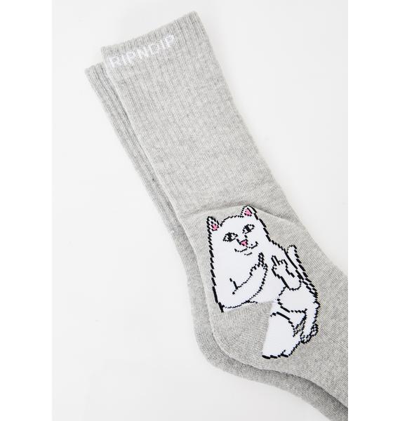 RIPNDIP Heather Grey Lord Nermal Socks