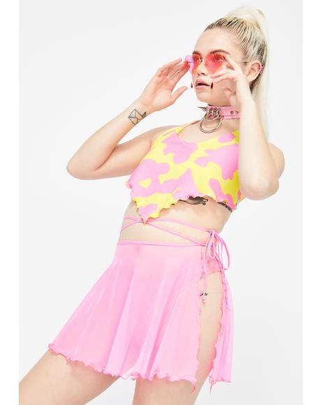 Pink Sass Mesh Wrap Skirt