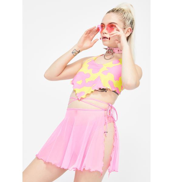 Rheabfunky Pink Sass Mesh Wrap Skirt