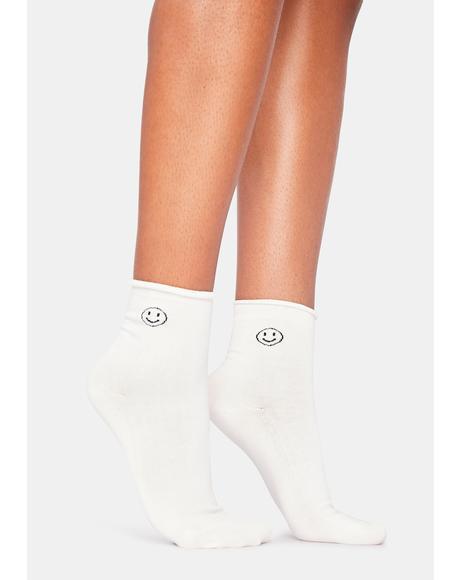 Happy Vibes Crew Socks