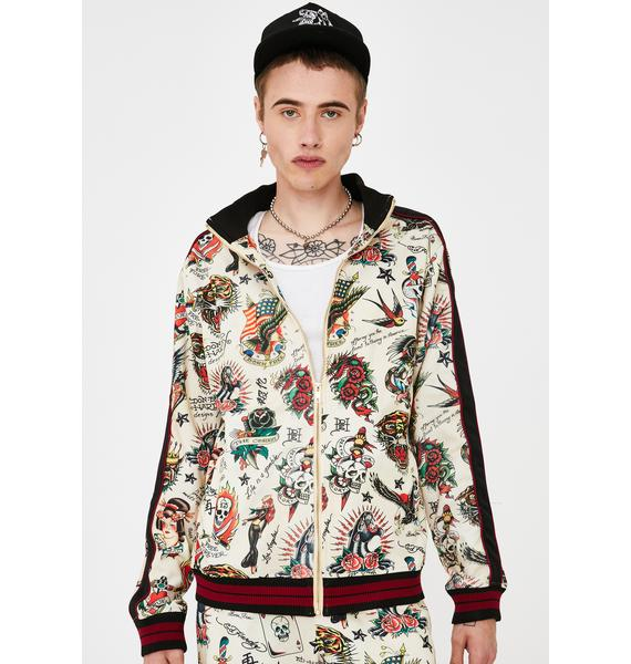 Ed Hardy Slim Fit Embellished Track Jacket