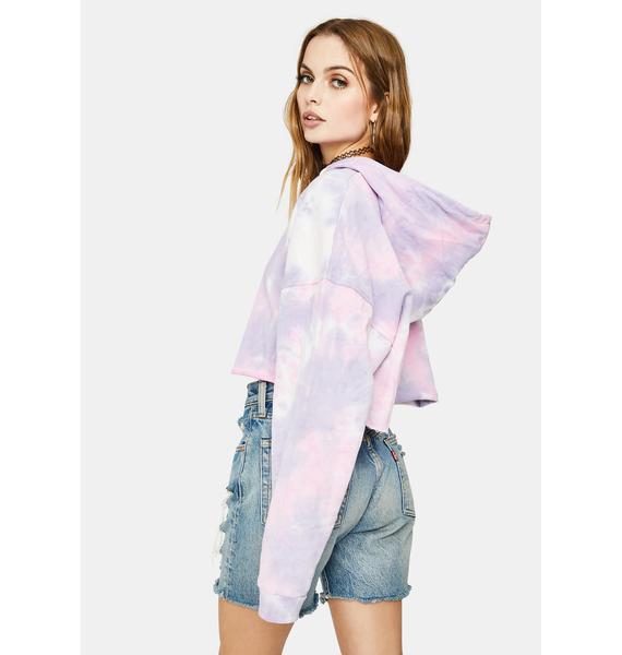 Bailey Rose Lavender Tie Dye Cropped Hoodie