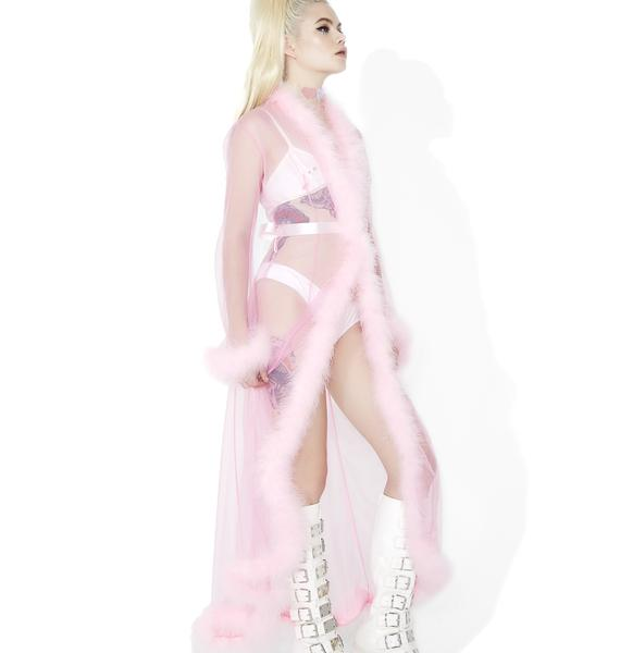 Sweet Bardot Sheer Feathered Robe