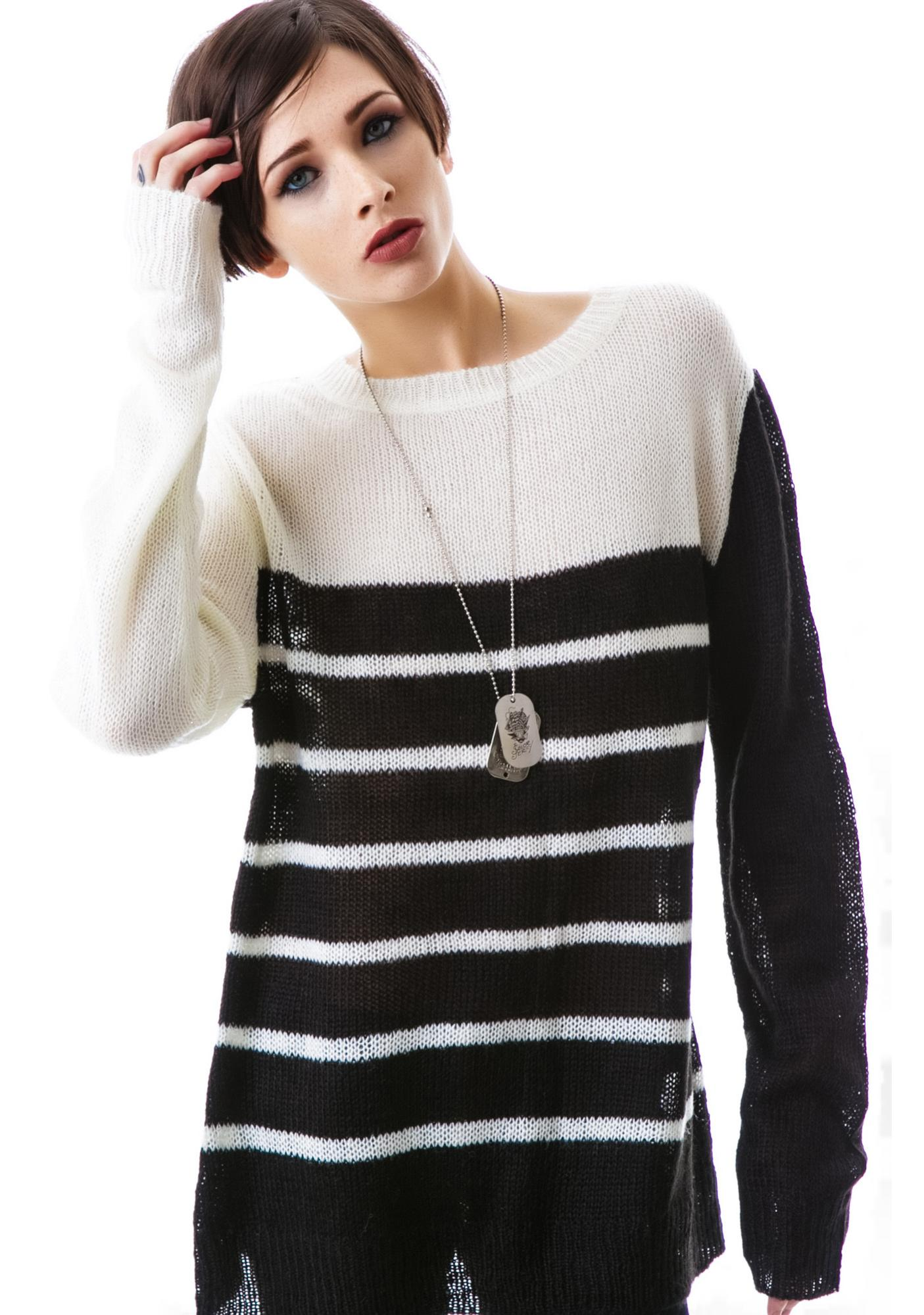 Tripp NYC Spider Web Long Sleeve Knit