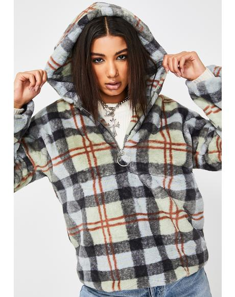 Plaid Hooded Teddy Jacket