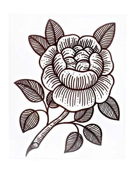 Rosie Woodcut Temporary Tattoo