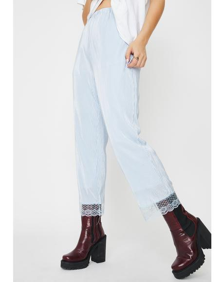 Periwinkle Micro Pleated Satin Pants