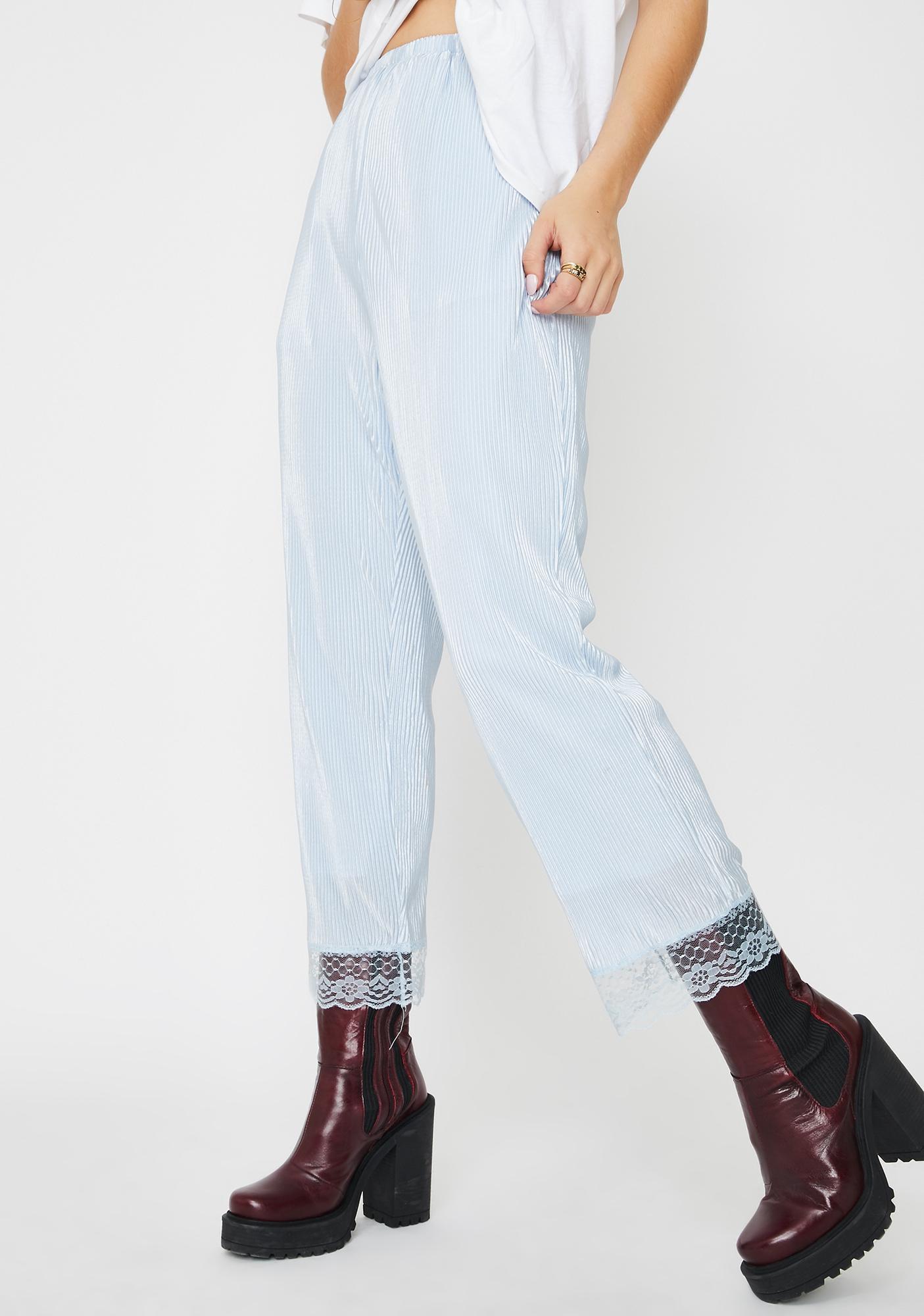 ZYA Periwinkle Micro Pleated Satin Pants