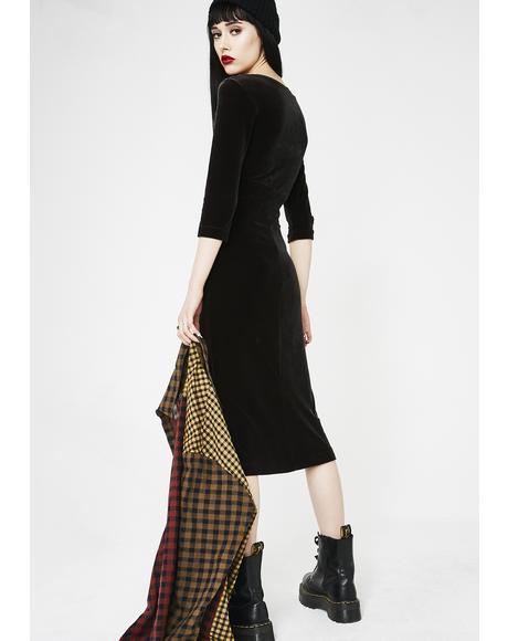 Vintage Velvet Midi Dress