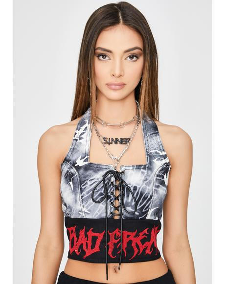 Gothic Print Lace-Up Denim Halter Top