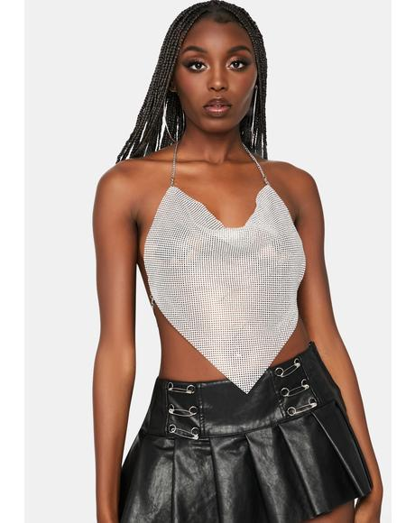 Platinum Miss Luxurious Metal Mesh Halter Top