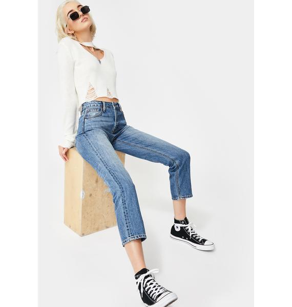 Hidden Denim Medium Wash High Rise Mom Jeans