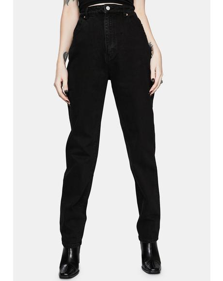 Elle Comfort Jet Black High Waist Denim Jeans