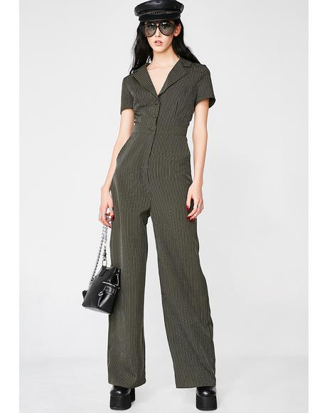 Boss Lady Pinstripe Jumpsuit