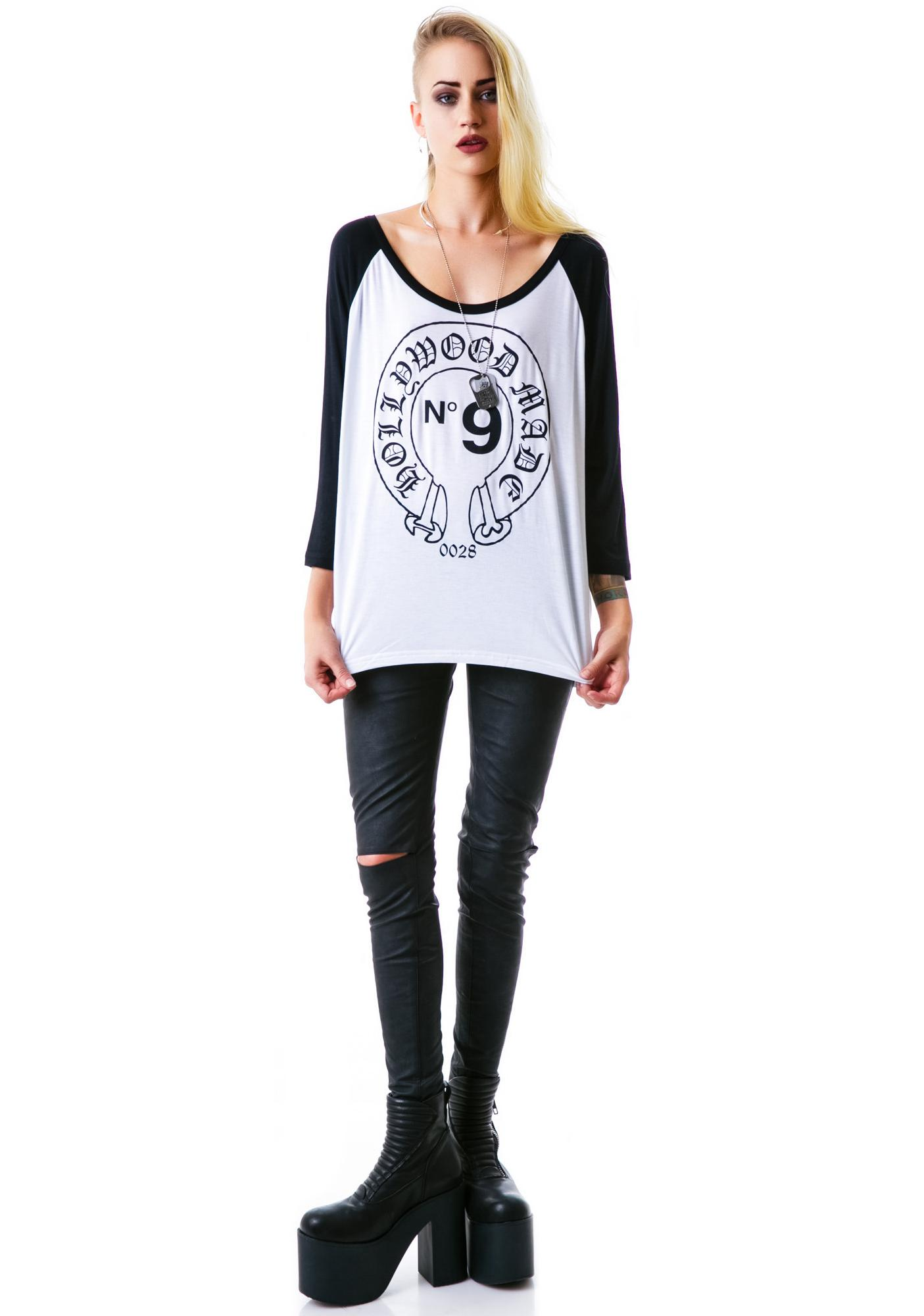 Hollywood Made Miss Hearts Loose Baseball Tee