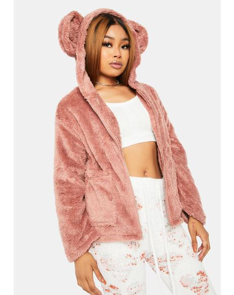 Mauve Cuddle Bear Faux Fur Jacket