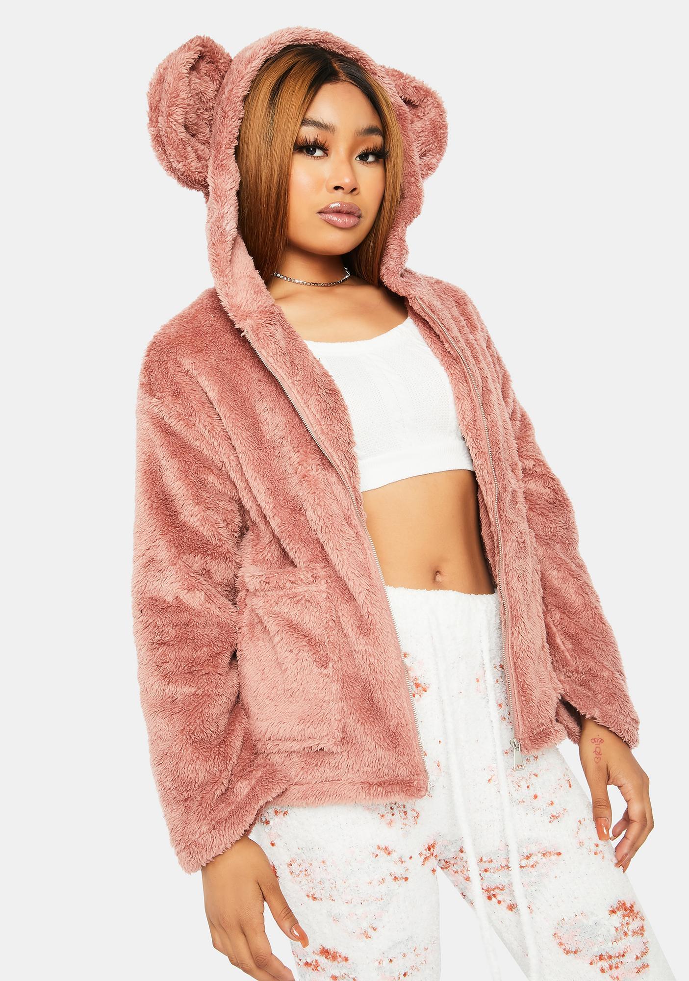 Mauve Cuddle Bear Faux Fur Jacket