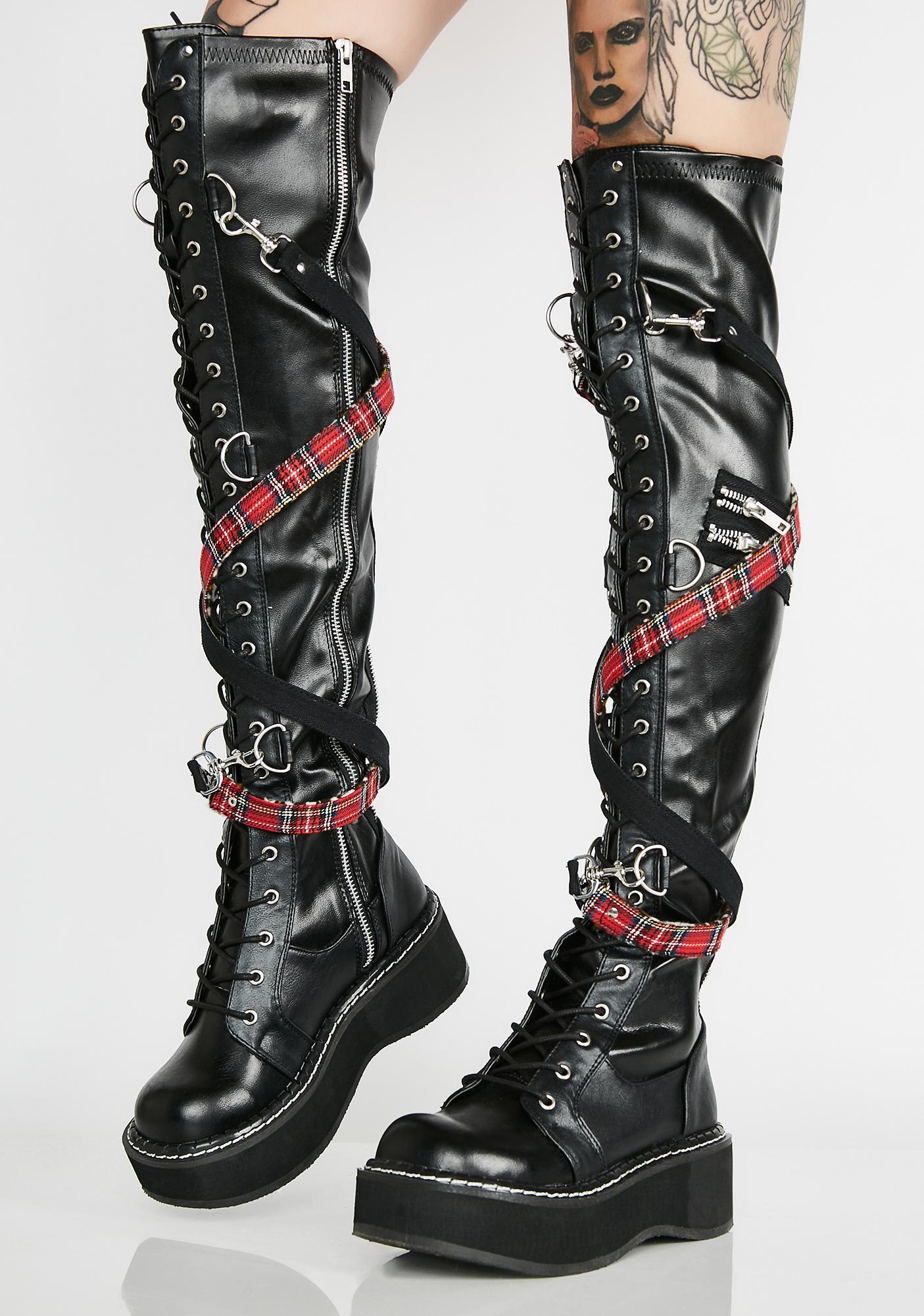 Demonia Madame Anarchy Bondage Boots