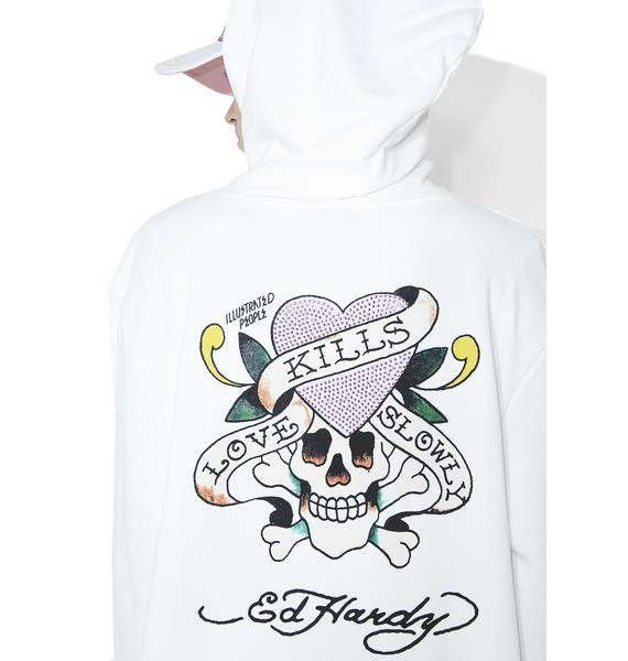 Illustrated People Ed Hardy Love Kills Slowly Diamonte Hoodie