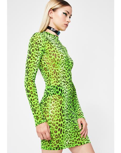 Neon Animal Mesh Dress
