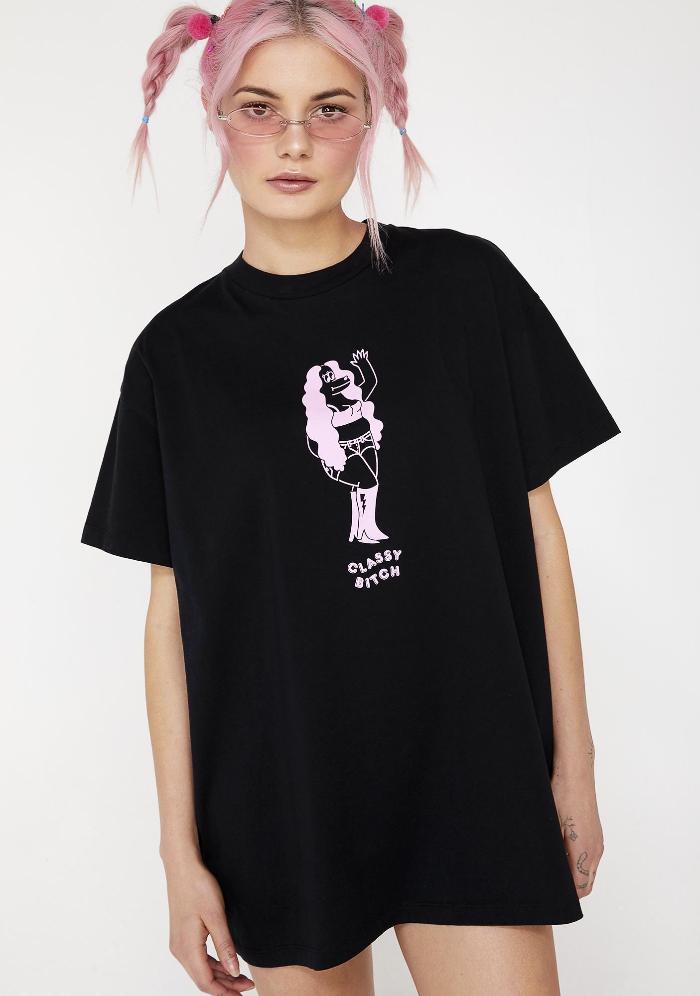 Lazy Oaf Classy Bitch Oversized T- Shirt