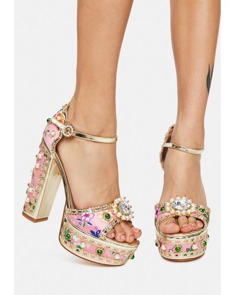 Pink Cici Jeweled Platform Heels