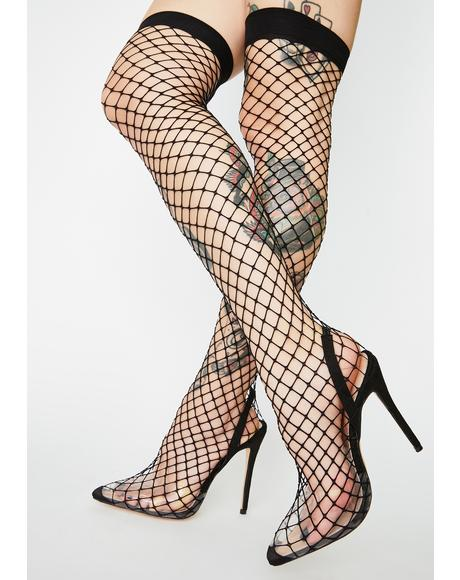 Flutter Fishnet Stiletto Heels