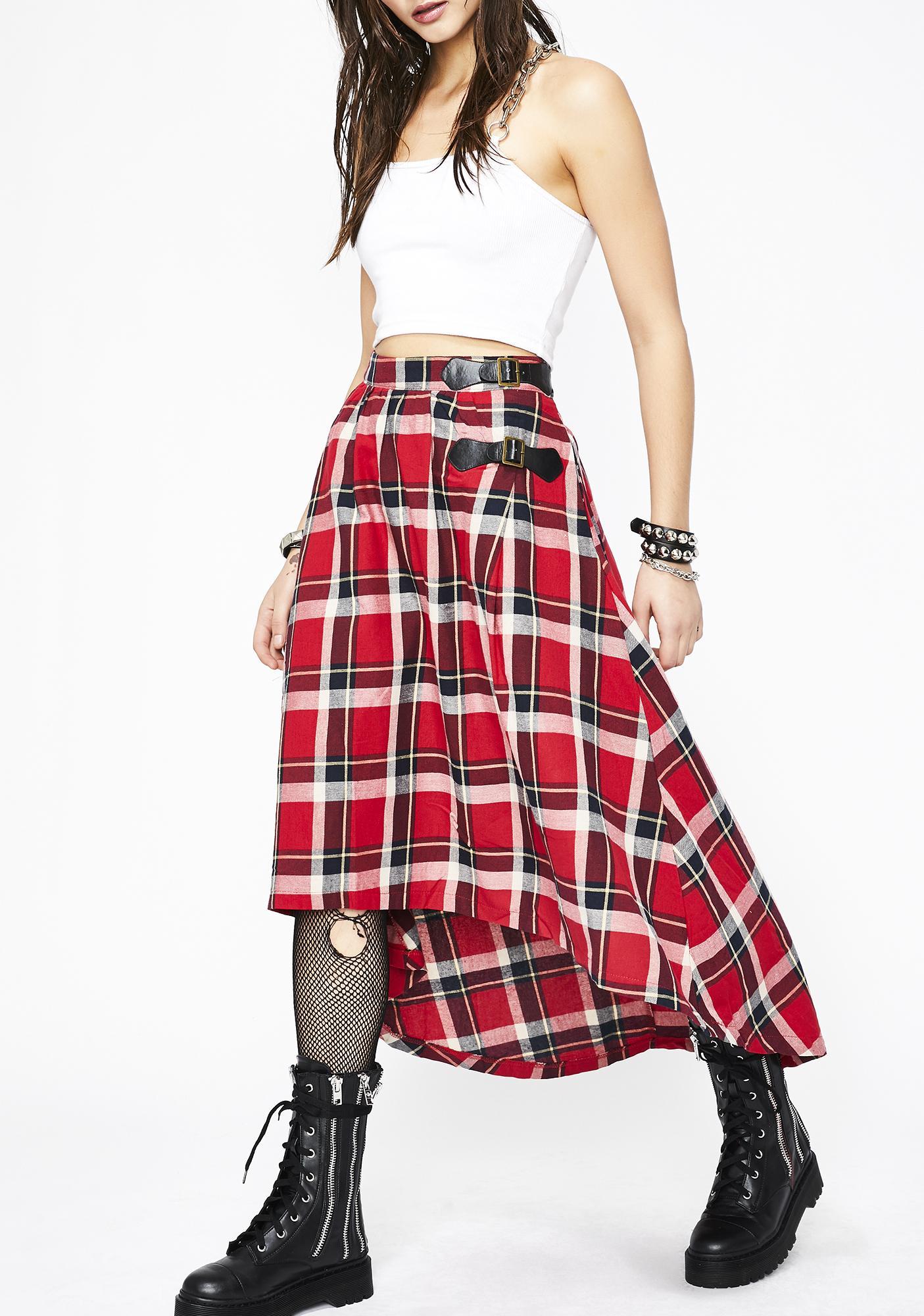 5ff3163641d6f4 Plaid High Low Buckle Midi Skirt | Dolls Kill