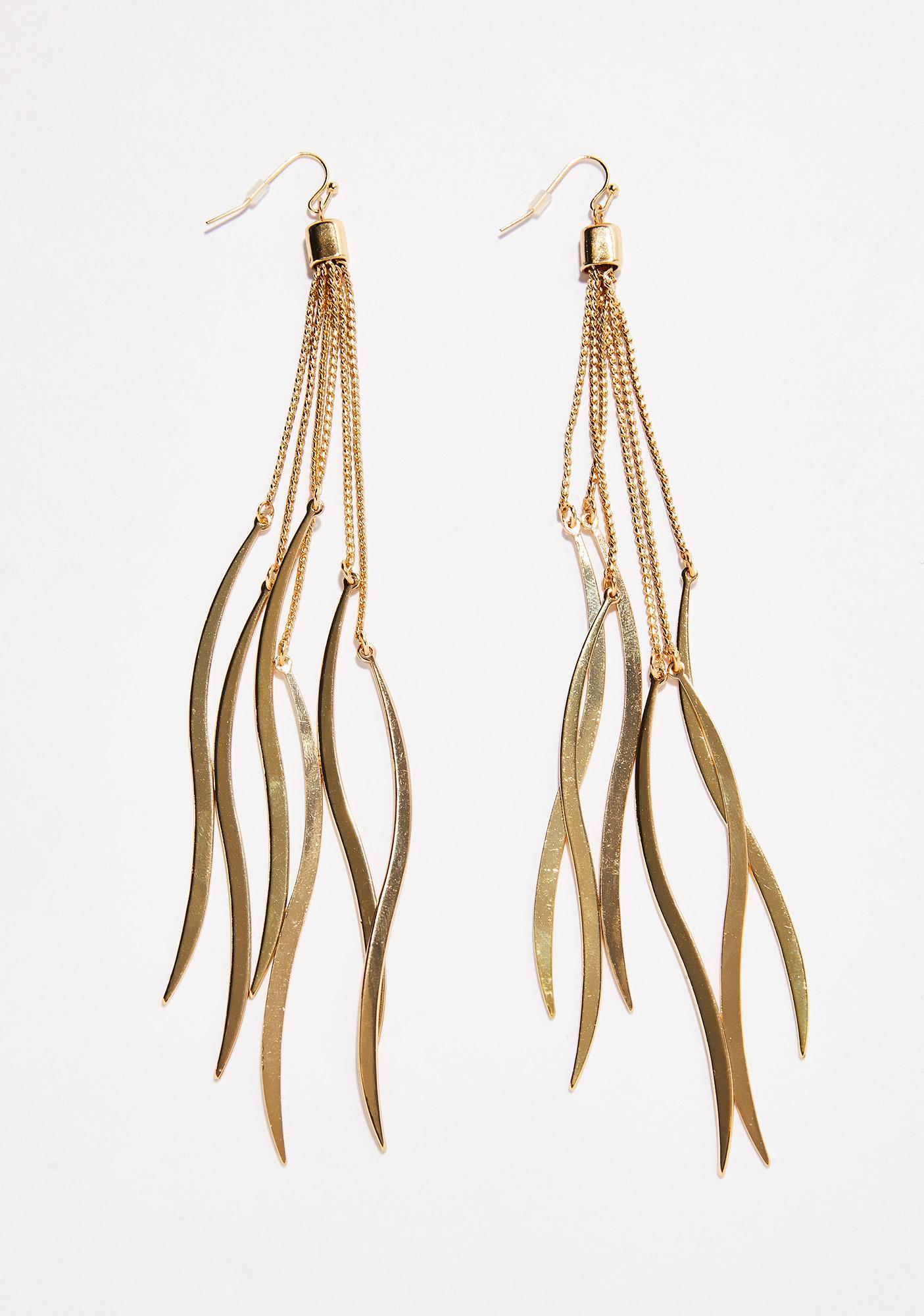 Rollin In Gold Fringe Earrings