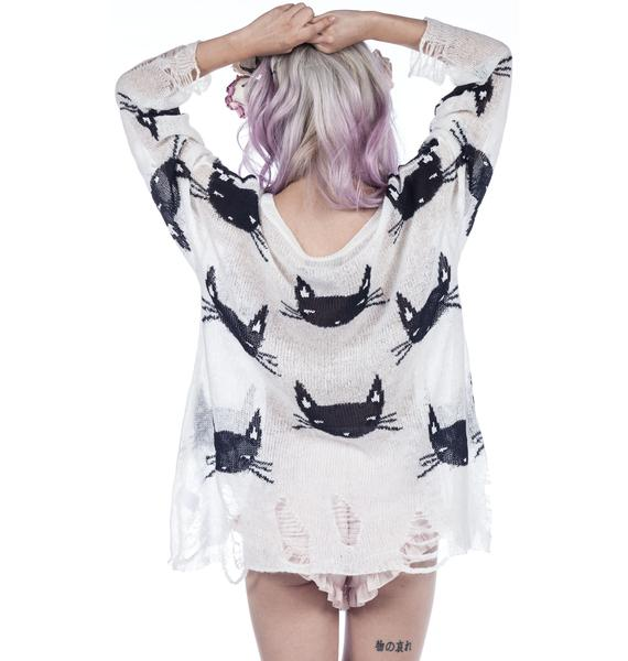Wildfox Couture Cat Face Lennon Sweater