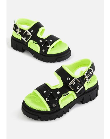 Black & Neon Green Jorja Sandals