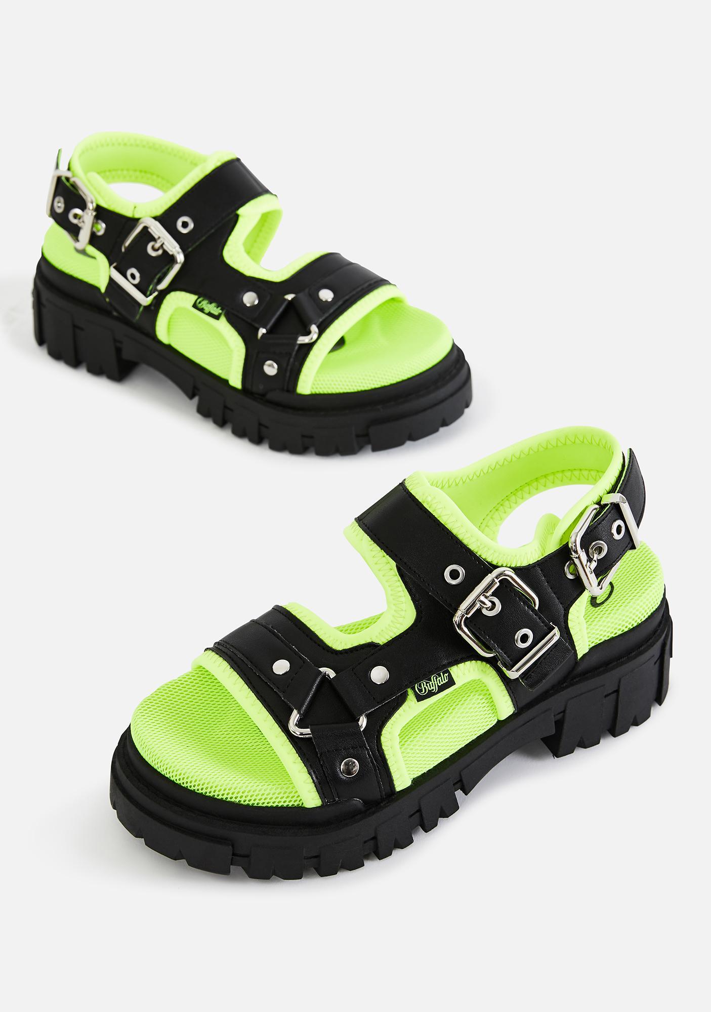 Buffalo Black & Neon Green Jorja Sandals