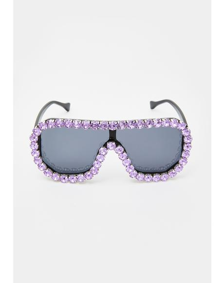Lavender Locked N' Loaded Aviator Sunglasses