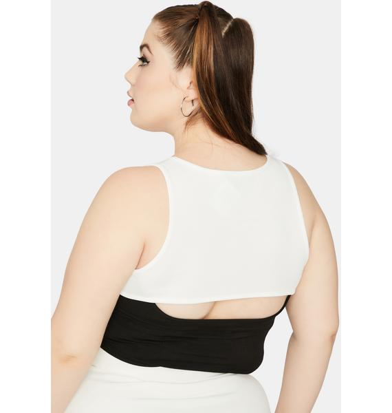 Magic I'm Double The Trouble Two Tone Cutout Crop Top