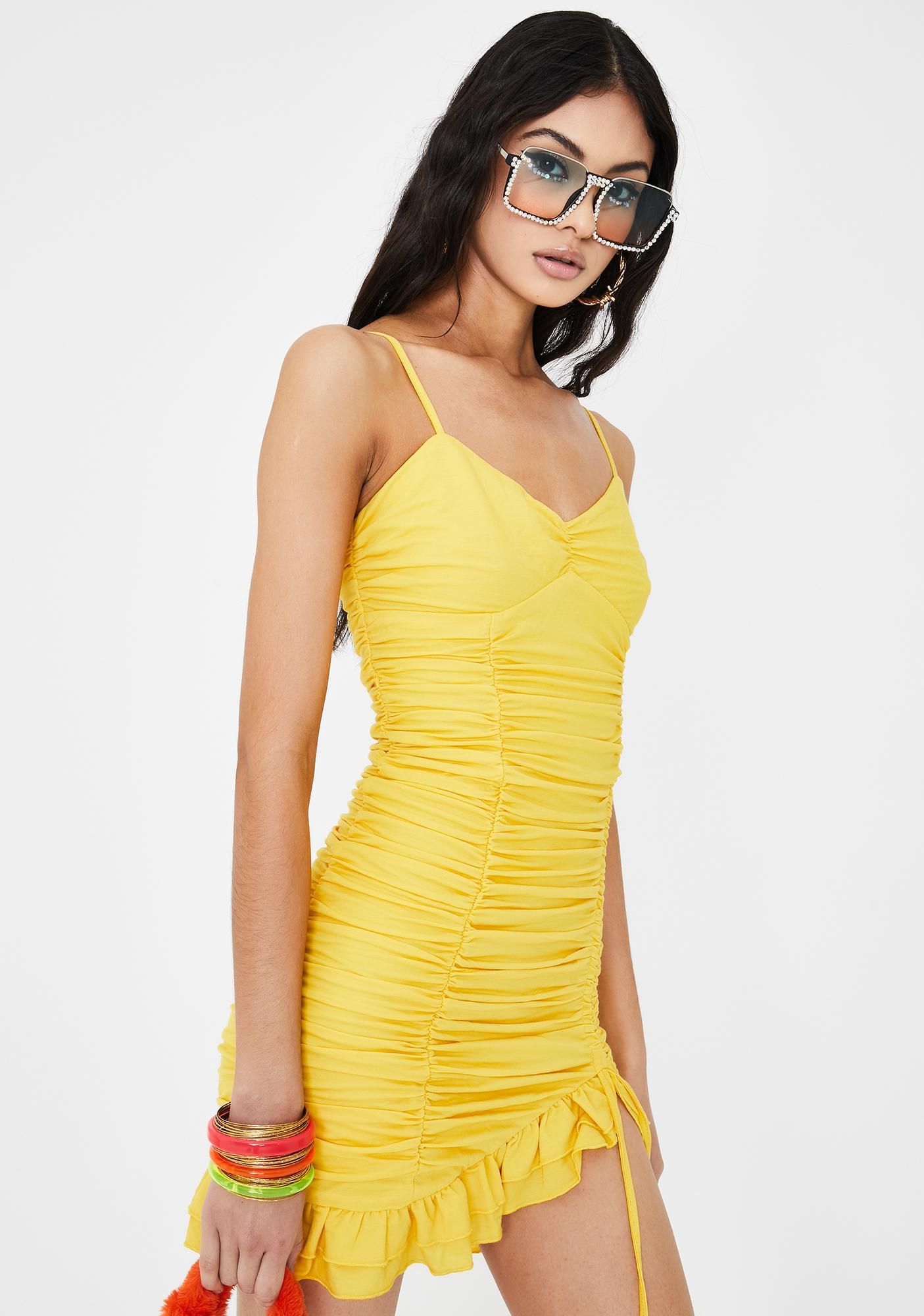 Tiger Mist Yellow Lucky Bodycon Dress