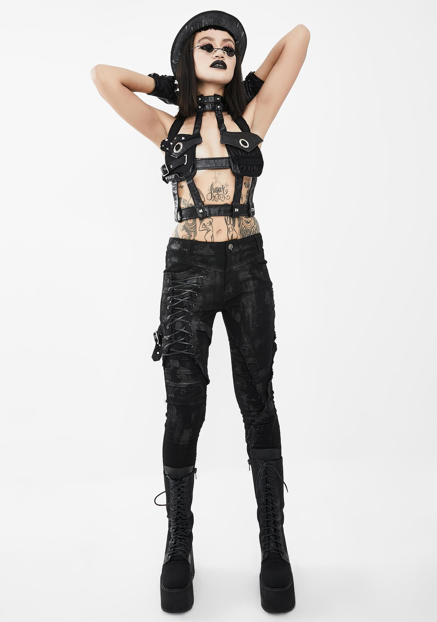 Devil Fashion Front Pockets Body Harness