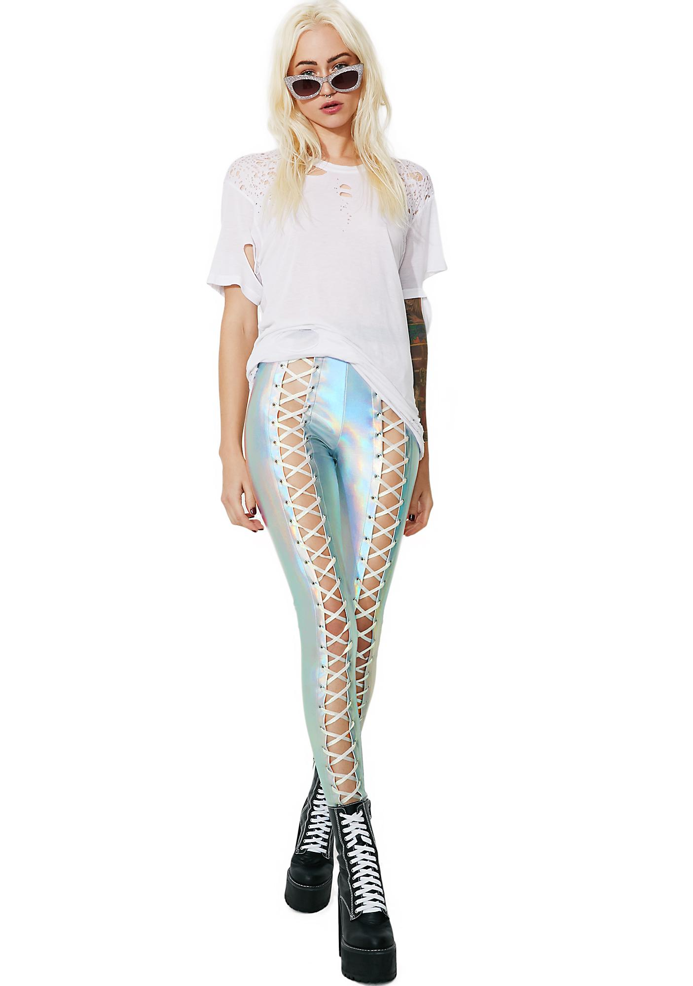 Club Exx Holographic Nancy Corset Leggings