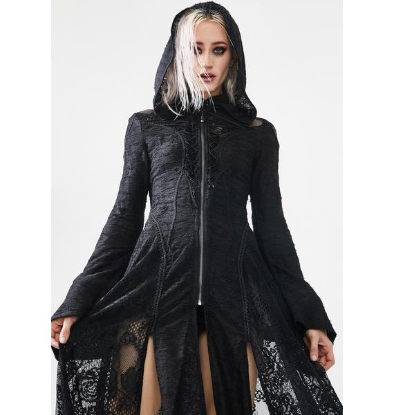 Punk Rave Darkmoon Cage Yarn Long Hooded Coat