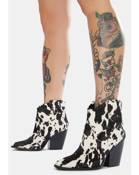 Bonnie Leather Cow Print Boots