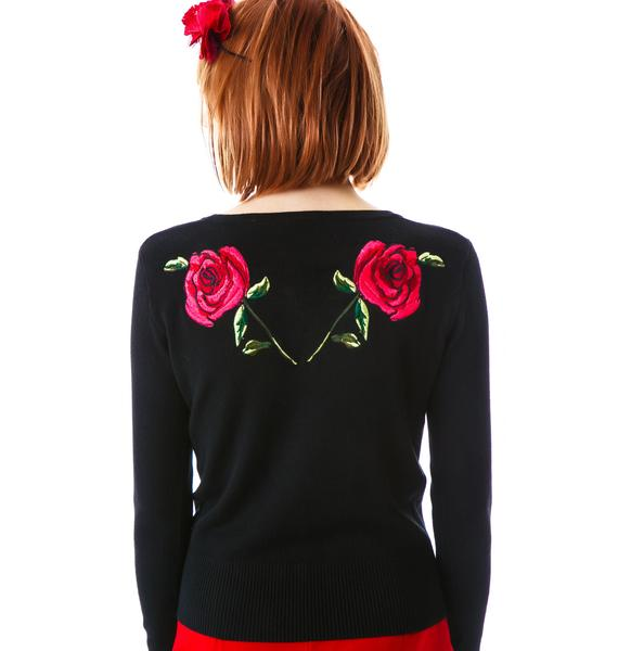 Dark Rose Embroidered Cardigan