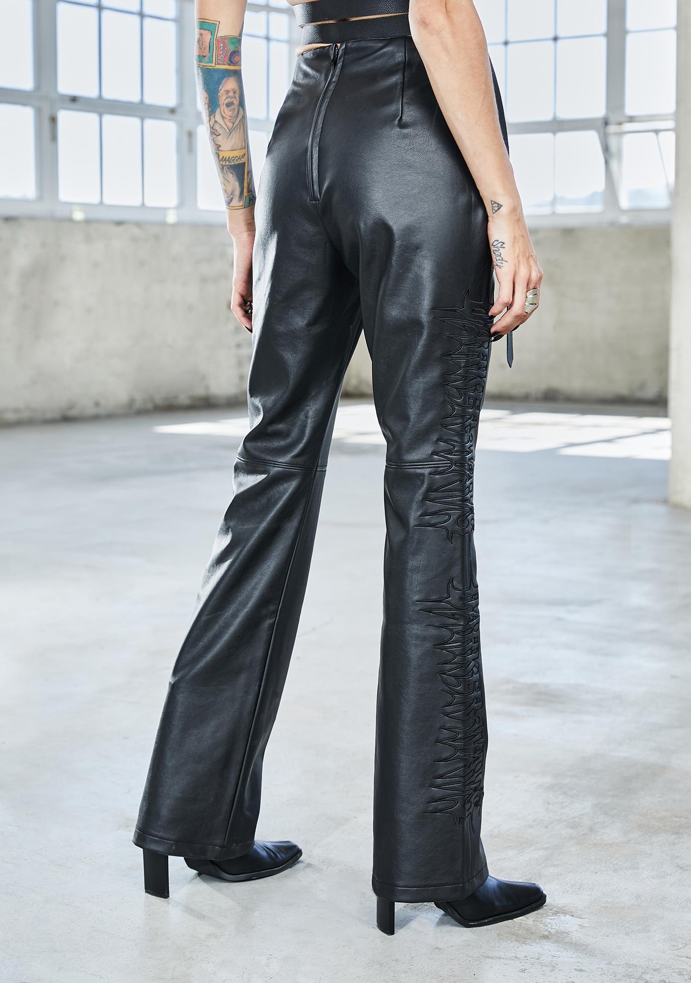 DARKER WAVS Bassline Vegan Leather Lace Up Pants