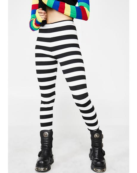 Recently Deceased Stripe Leggings