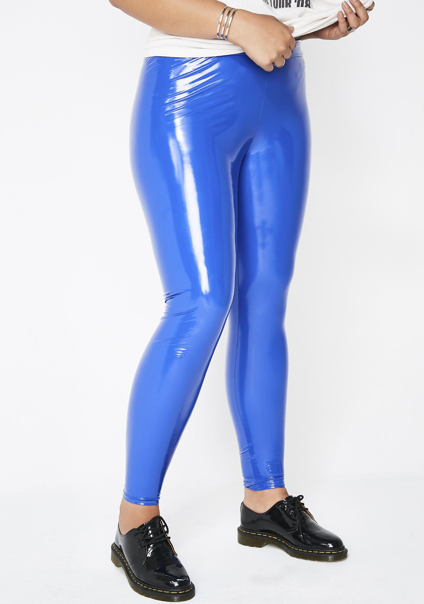 3f7b4373588 Blue Plus Size Vinyl leggings