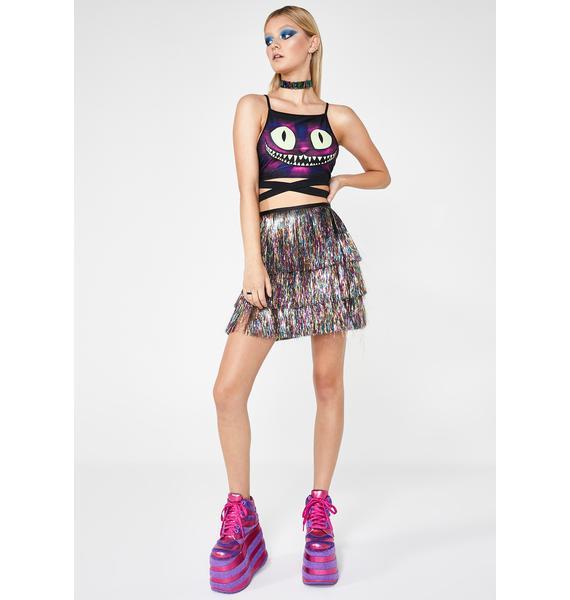 Club Exx Disco Thunder Fringe Skirt