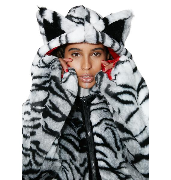 J Valentine White Tiger Faux Fur Jacket