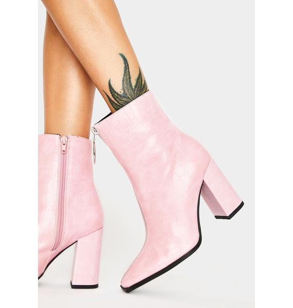 Public Desire Pink Croc Payback Ankle Boots