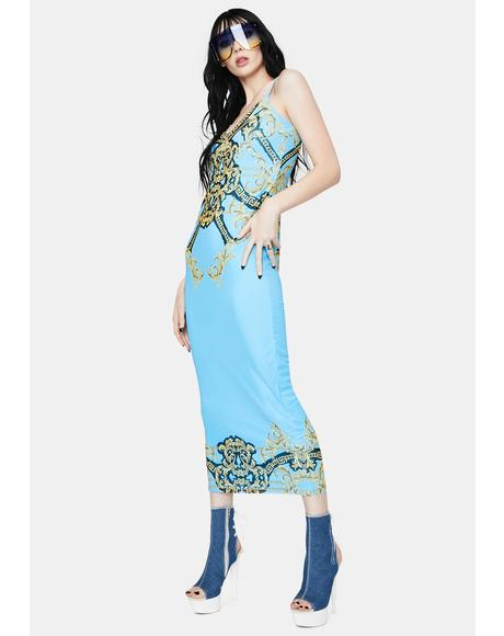 Teal Chain Amina Mesh Midi Dress