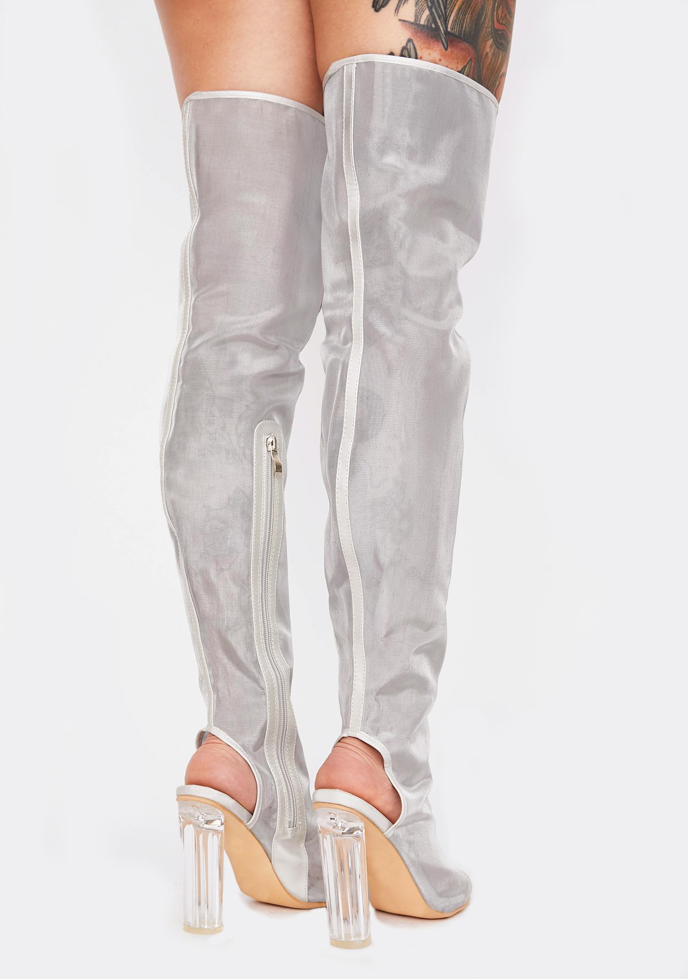 Drama Shield Thigh High Boots