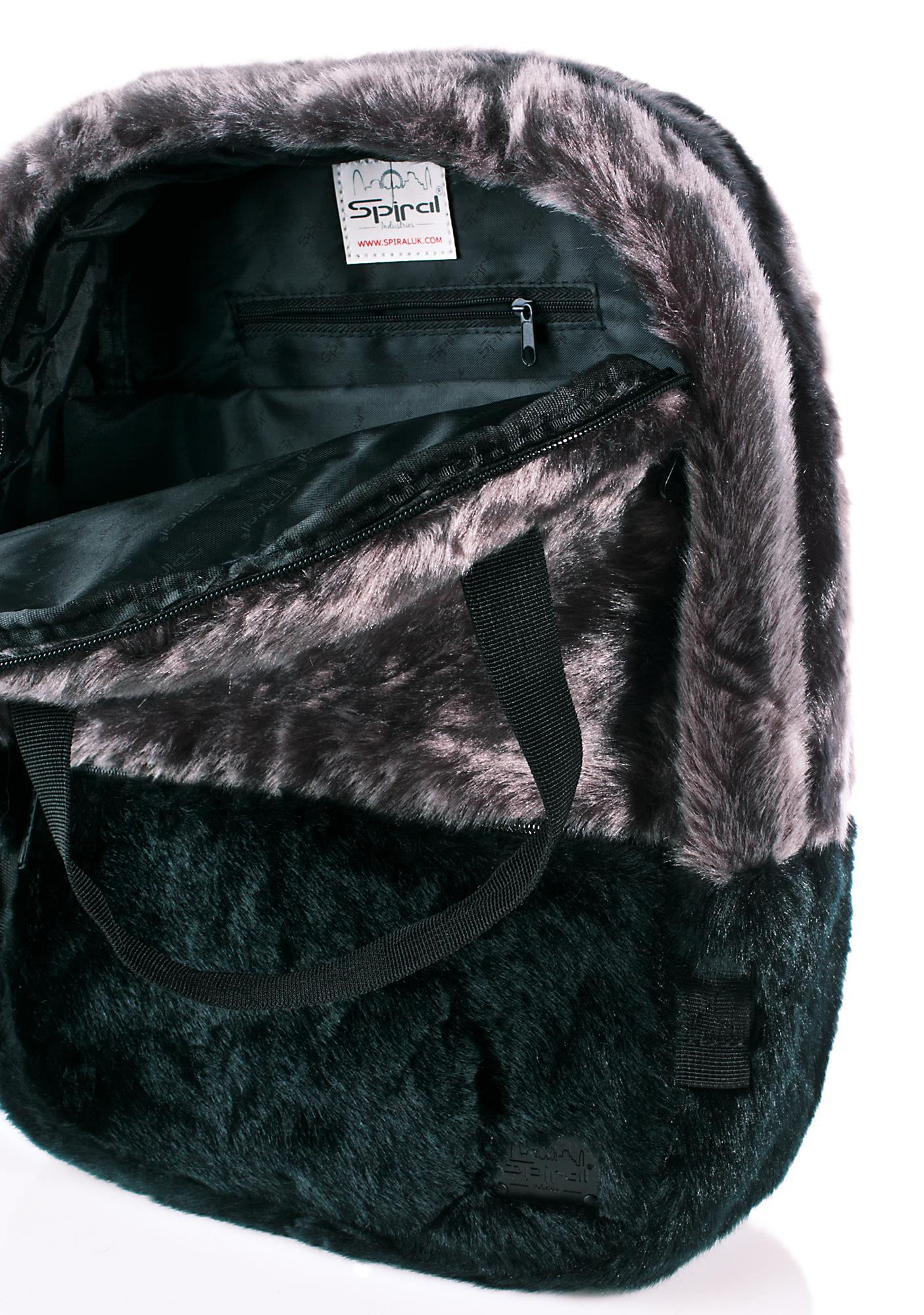 Spiral UK Black Faux Fur Backpack