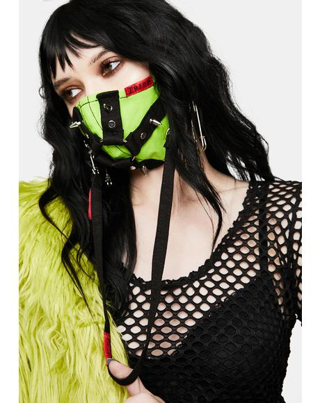 Lime Green Harness Strap Face Mask